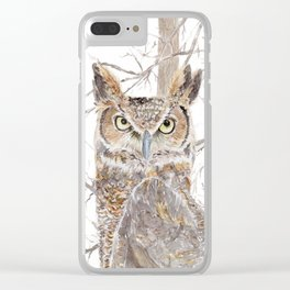 """Watercolor Painting of Picture """"Owl in the Forest"""" Clear iPhone Case"""
