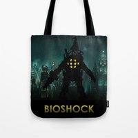 bioshock Tote Bags featuring Bioshock by Pixel Design