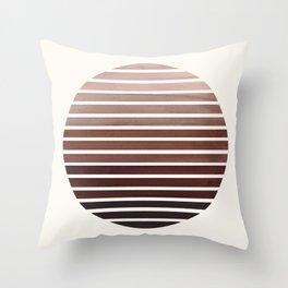 Raw Sienna Mid Century Modern Minimalist Scandinavian Colorful Stripes Geometric Pattern Round Circl Throw Pillow