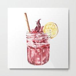 Cool Summer Drink With Lemon Slice Metal Print