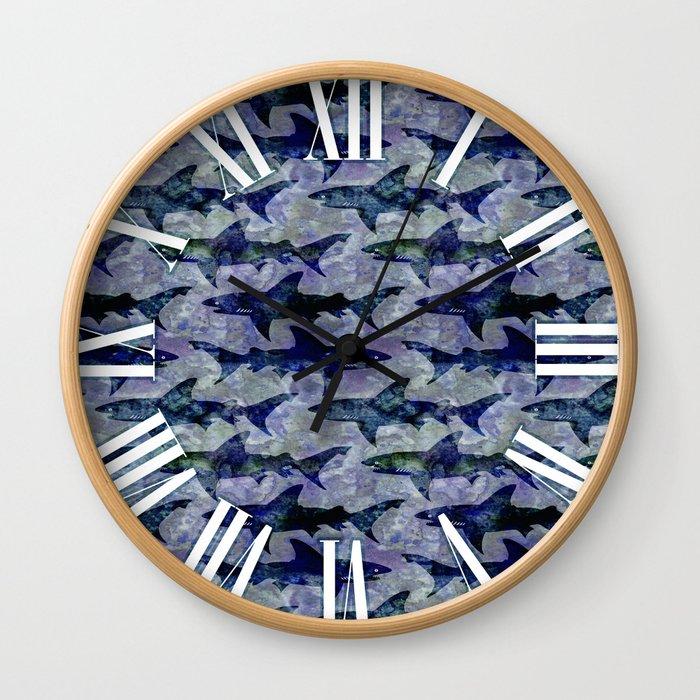 Deep Water Sharks Wall Clock