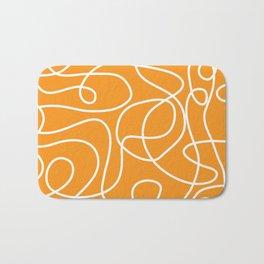 Doodle Line Art | White Lines on Bright Orange Bath Mat