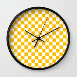 White and Amber Orange Checkerboard Wall Clock