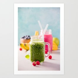Close-up of green fresh smoothie with fruits, berries, oats and seeds, selective focus Art Print