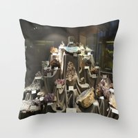minerals Throw Pillows featuring Don't Touch the Minerals by kindercore