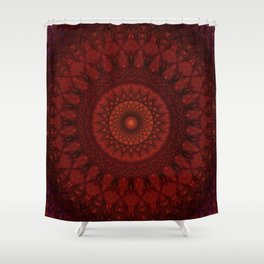 Dark and light red mandala Shower Curtain
