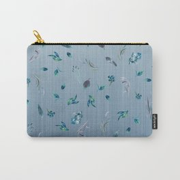 Falling Leaves in Blue Carry-All Pouch