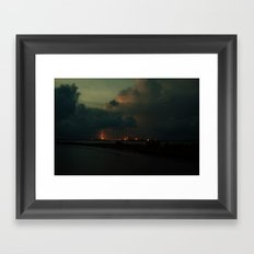 Lightning Meets Nuclear Plant Framed Art Print