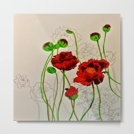 Very Red Flowers Metal Print