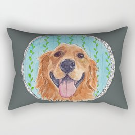 You're Never Fully Dressed without a Smile, Golden Retriever, Whimsical Watercolor Painting, Grey Rectangular Pillow