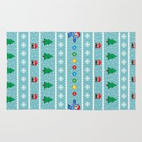 megaman Area & Throw Rugs featuring Christmas Pixel Megaman pattern by KickPunch