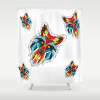 wolf Shower Curtains featuring Wolf by mark ashkenazi