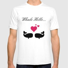 Whale Hello, Love Whales, whale lovers, animal lovers, valentines gift SMALL Mens Fitted Tee White