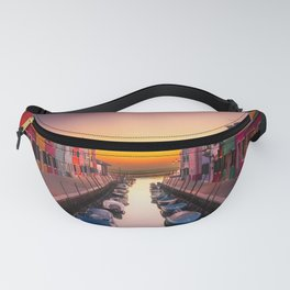 Venice Italy Boats Sunset Photography Fanny Pack