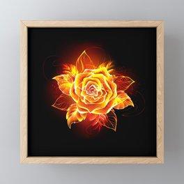 Blooming Fire Rose Framed Mini Art Print