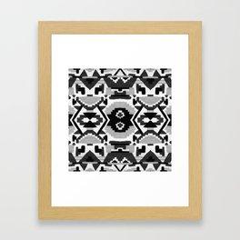 Geometric Aztec - black and white Framed Art Print
