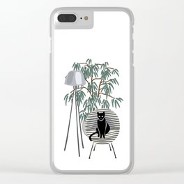 black cat on the chair Clear iPhone Case