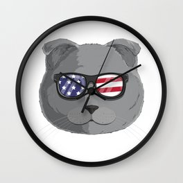 Patriotic Scottish Fold Cat Kitty Merica American Flag Wall Clock