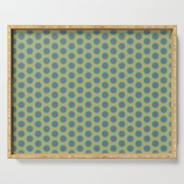 LIMON - grey & bright sea green polka-dots on chartreuse Serving Tray