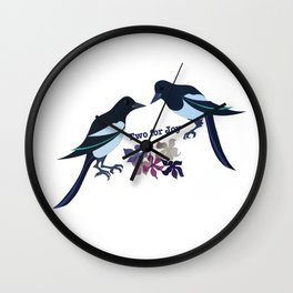 Two magpies Wall Clock