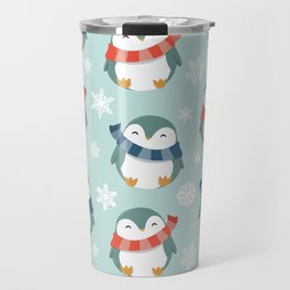 Winter penguins pattern Travel Mug