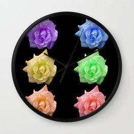 Rows of Rainbow Roses Wall Clock