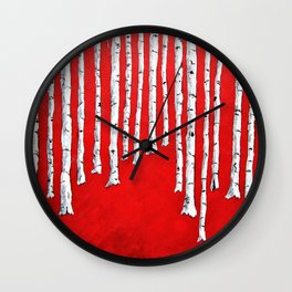 Bright Red Birch Forest by Mike Kraus - art aspen trees woods nature black white red abstract beauty Wall Clock