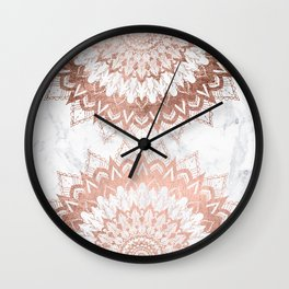 Modern chic rose gold floral mandala illustration on trendy white marble Wall Clock