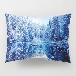 Blue Winter Wonderland : Forest Mirror Lake Pillow Sham