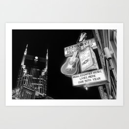 Ernest Tubb Record Shop - Downtown Nashville - Black and White Art Print
