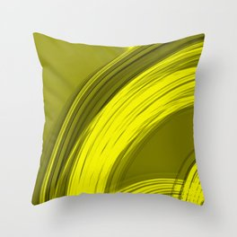 Semicircular sections of yellow metal with rays of light and strings.  Throw Pillow