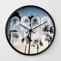 paradise Wall Clocks featuring PARADISE by RichCaspian