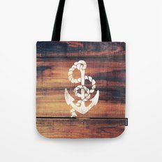 Vintage Nautical Anchor White on Brown Wood Grain Tote Bag