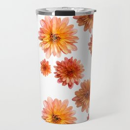 Coral Mum Floral Pattern - Scattered Flowers - Chrysanthemum Bloom Pattern - Real Flowers Travel Mug