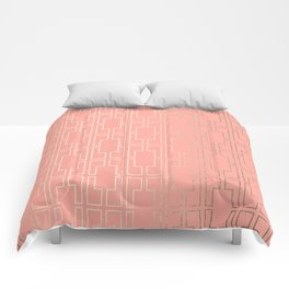 Simply Mid-Century in White Gold Sands on Salmon Pink Comforters