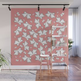 The pattern of butterflies. White butterflies on a pink background. Wall Mural