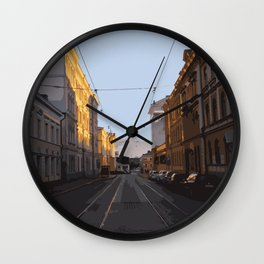 evening sun in the city Wall Clock