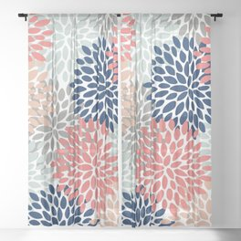 Floral Bloom Print, Living Coral, Pale Aqua Blue, Gray, Navy Sheer Curtain