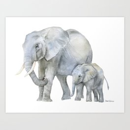 Mother and Baby Elephants Art Print