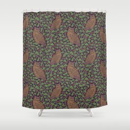Brown owls amoung green ginkgo leaves and red berries Shower Curtain