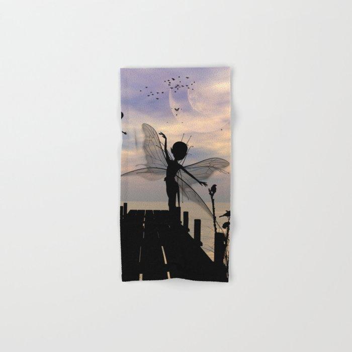 Cute fairy dancing on a jetty Hand & Bath Towel