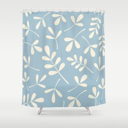 Cream on Blue Assorted Leaf Silhouettes Shower Curtain