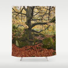 Autumnal woodland. Padley Gorge, Derbyshire, UK. Shower Curtain