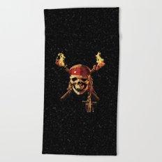 Pirates Skull Of Fire Beach Towel