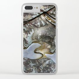 Patterns in boulder next to river - El Yunque rainforest PR Clear iPhone Case
