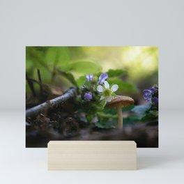 Mushroom With Purple and White Flowers Mini Art Print