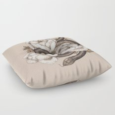 Snake and Peonies Floor Pillow