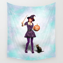 Cute Halloween Witch Wall Tapestry