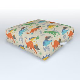 Jurassic Dinosaurs in Primary Colors Outdoor Floor Cushion