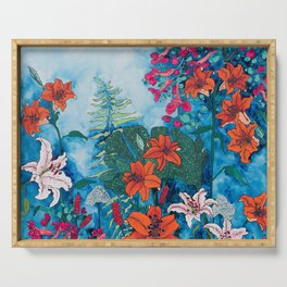 Blue Jungle of Orange Lily and Pink Trumpet Vine Floral Serving Tray
